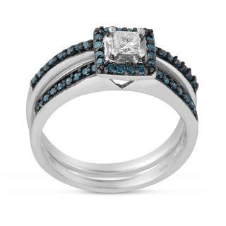 10K White Gold 1/2 CTTW Blue and White Diamond Bridal Ring Set ( H-I I1-I2 )