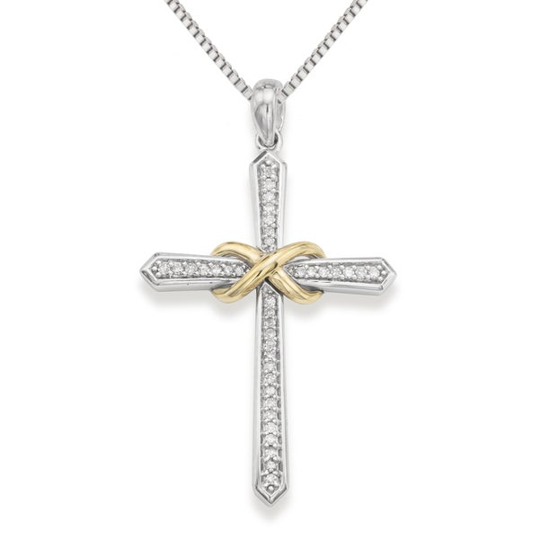 Sterling Silver 0.14 Cttw Diamond Cross Necklace (H-I, I1-I2)
