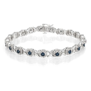 Sterling Silver, 1 Carat White and Blue Fashion Diamond Bracelet (H-I, I1-I2)