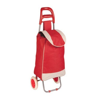 rolling fabric cart red