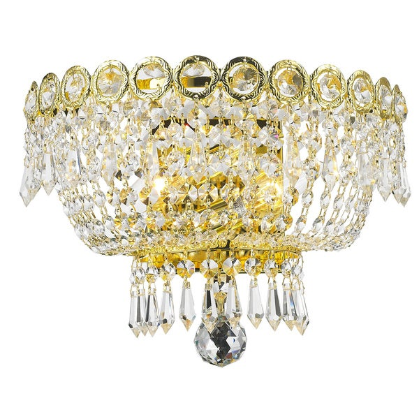 French Empire Two Light Gold Finish And Clear Crystal Medium Wall Sconce Two W Free Shipping