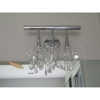 """Modern 3 Light Chrome Finish 16"""" Wide Crystal Linear Vanity Wall Sconce"""