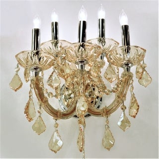 Lyre Collection 5 Light Chrome Finish with Amber Crystal Wall Sconce