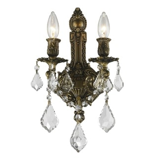 """Traditional French Style 2 Light Antique Bronze Finish and Clear Crystal Medium Wall Sconce 12"""" W"""