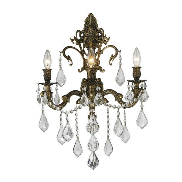 """Traditional French Style 3 Light Antique Bronze Finish and Clear Crystal Large Wall Sconce 17"""" W"""