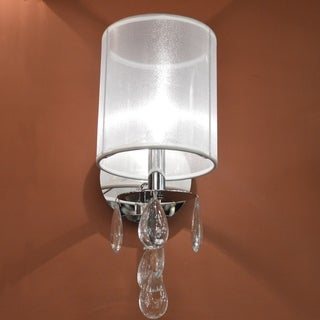 """Modern 1 Light Chrome Finish and Clear Crystal Wall Sconce with White Organza Shade Small 6"""" W"""