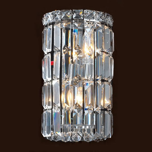 Small Crystal Wall Sconces : Contemporary 2-light Chrome Finish and Clear Crystal Curved Wall Sconce Small 4 inches wide ...