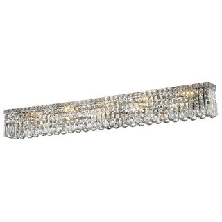"Contemporary 10 light Chrome Finish and Clear Crystal Vanity Light Wall Sconce 48"" Wide"