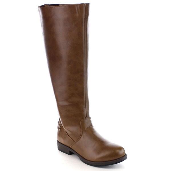 Beston FA20 Women's Stylish Side Zip Elastic Panel Knee High Riding Boots