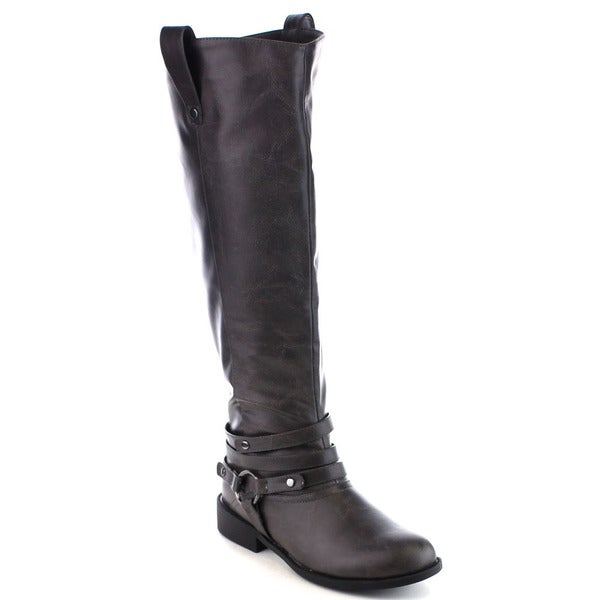 Beston FA30 Women's Strappy Side Zip Pull On Tab Knee High Riding Boots