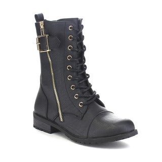 FOREVER FEW25 Women's Western Lace Up Chunky Heel Mid Calf Combat Boots