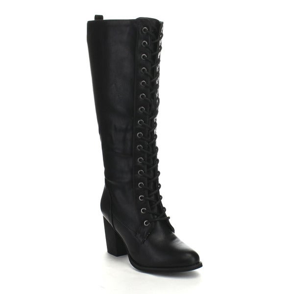 Beston DA27 Women's Lace Up Chunky Heel Knee High Riding Boots