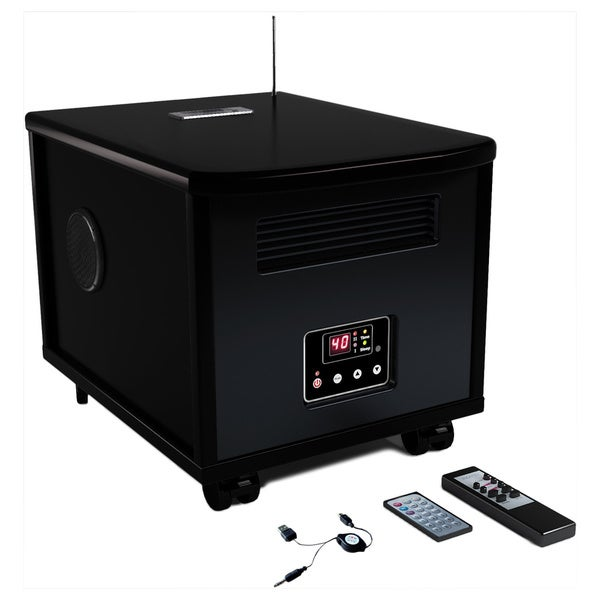 JNH Lifestyles SQ-9721M 1500-watt Wood 3-in-1 PTC Infrared Space Heater Radio and Media Player