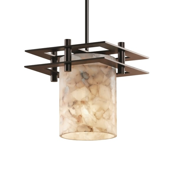 Justice Design Group Alabaster Rocks Metropolis Small 2 Flat Bar Pendant Cylinder with Flat Rim