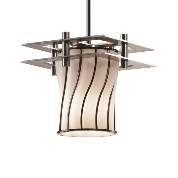 Justice Design Group Wire Glass Metropolis Small 2 Flat Bar Pendant Cylinder with Flat Rim