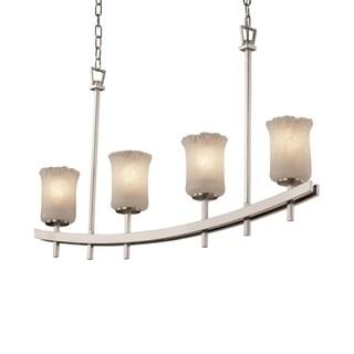 Justice Design Group Veneto Luce Archway Uplight Bar Chandelier Cylinder with Rippled Rim