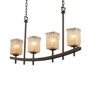 Justice Design Group Veneto Luce Archway Uplight Bar Chandelier Square with Rippled Rim