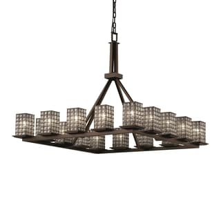 Justice Design Group Wire Glass Montana Ring Chandelier Square with Flat Rim