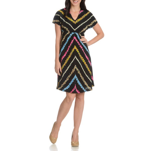 Episode Women's Diagonal Floral Stripe Silk Dress