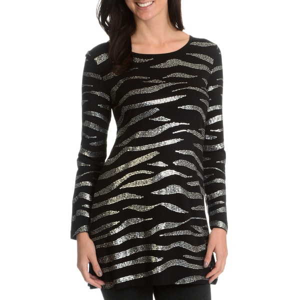 Joan Vass Women's Sequin Long-Sleeve Long Tunic