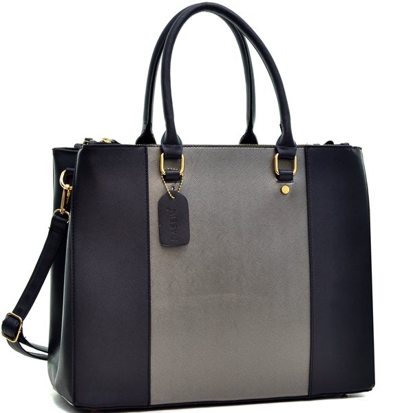 Dasein 3 Compartment Large Classic Tote Bag