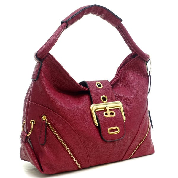 Dasein Buffalo Leather Classic Hobo with Zippered Pockets