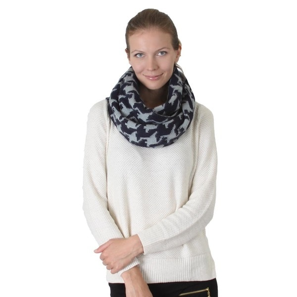 Houndstooth Knitted Infinity Scarf