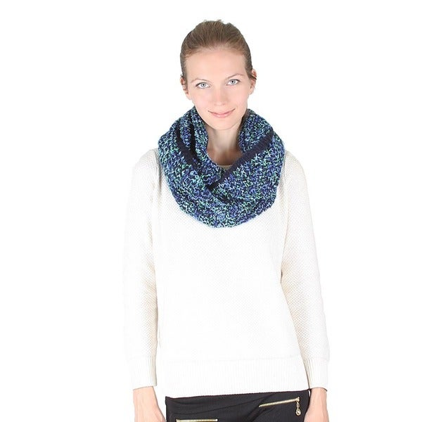 Melange Color Mixed Knitted Infinity Scarf