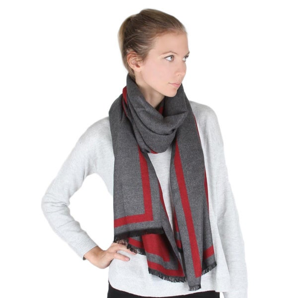 Square Borderline Wool Like Fabric Unisex Muffler