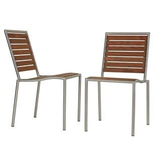 Cortesi Home Owen Stainless Steel Outdoor Chair in Solid Teak Wood, Silver (Set of 2)