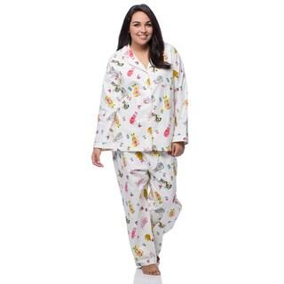 La Cera Women's Plus Size Cat Print Cotton Flannel Pajama Set