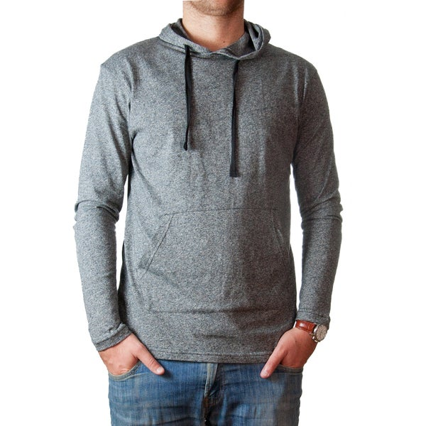 Straight Faded Men's Long-Sleeve Grey Marled Pocket Hoodie T-Shirt