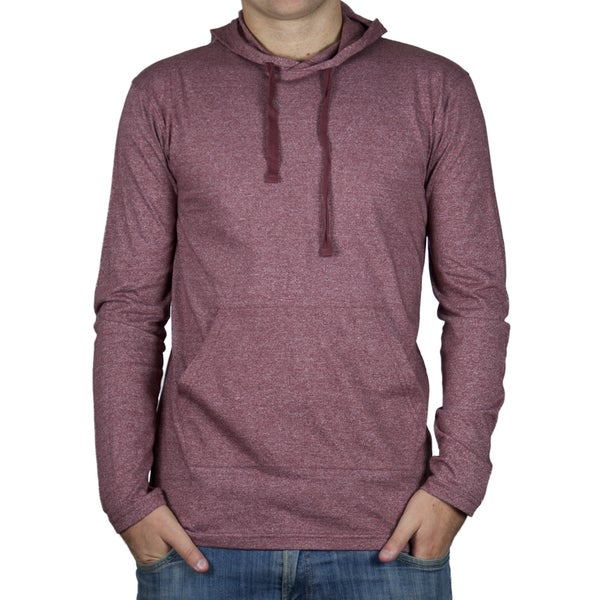 Straight Faded Men's Long-Sleeve Burgundy Pocket Hoodie T-Shirt