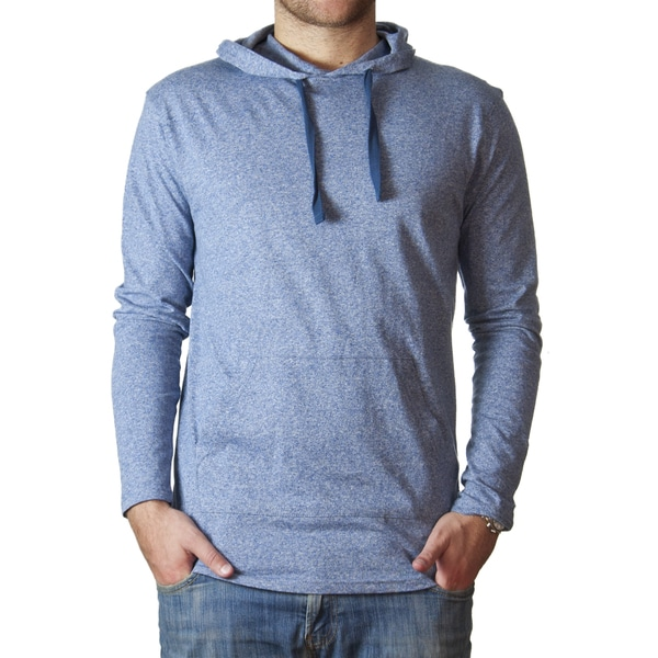 Straight Faded Men's Long-Sleeve Marled Blue Pocket Hoodie T-Shirt