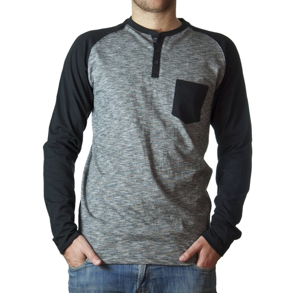 Straight Faded Men's Long-Sleeve Black Raglan Slub Stripe T-Shirt