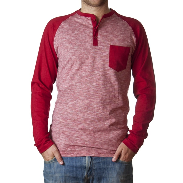 Straight Faded Men's Long-Sleeve Red Raglan Henley Slub Stripe T-Shirt