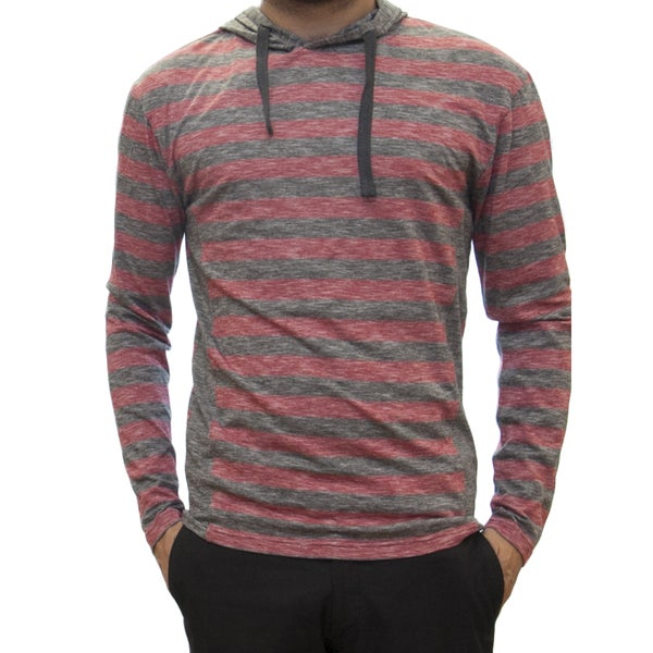 Straight Faded Men's Long Sleeve Red Jersey Stripe Hoodie T-Shirt