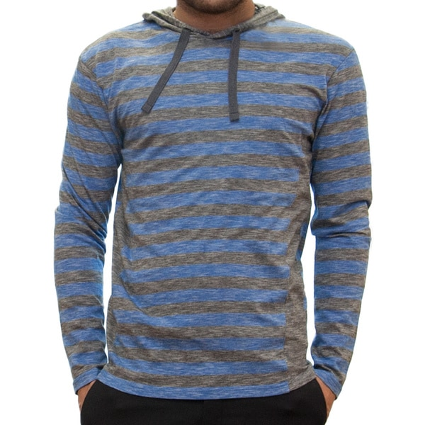 Straight Faded Men's Long-Sleeve Blue Hooded Jersey Stripe T-Shirt
