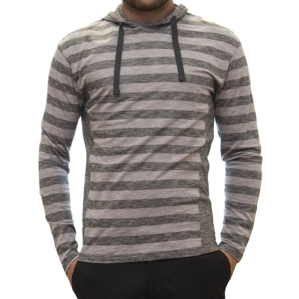 Straight Faded Men's Long-Sleeve Grey Jersey Stripe Hoodie T-Shirt