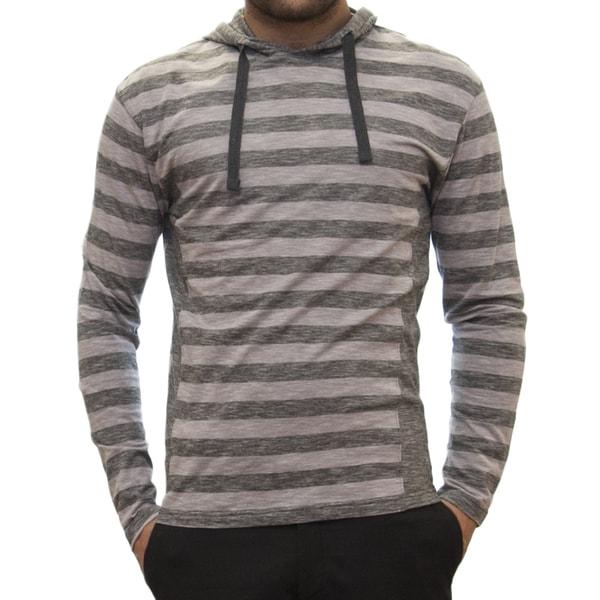 Straight Faded Men's Long-Sleeve Grey Jersey Stripe Hoodie T-Shirt