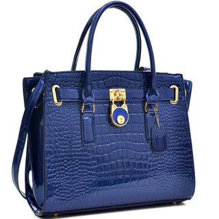 Dasein Patent Croco Embossed Faux Leather Belted Medium Tote Bag