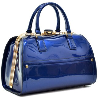 Dasein Faux Leather Jewel Satchel with Gold Tone Frame