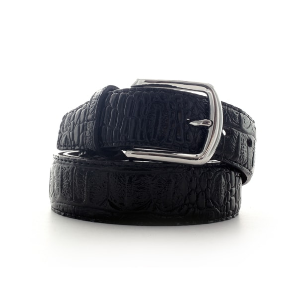 Faddism Croc Embossed Leather Belt