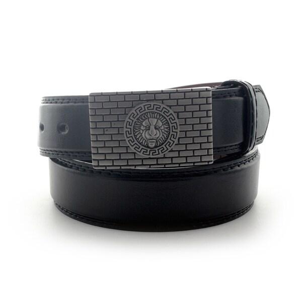 Faddism Men's Lion Head Textured Plate Buckle Leather Belt