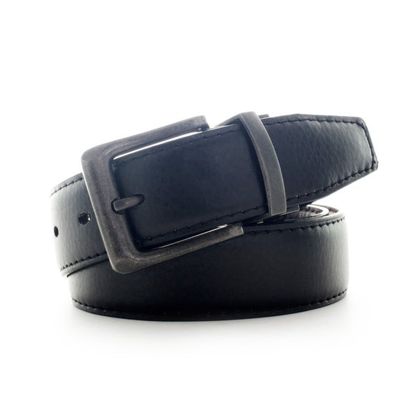 Faddism Men's Leather Reversible Belt with Gunmetal Buckle
