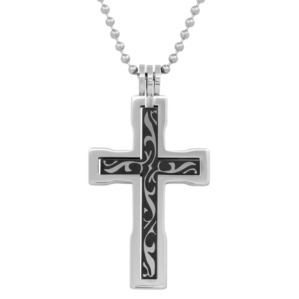 Stainless Steel Black Inlay Gothic Cross Pendant