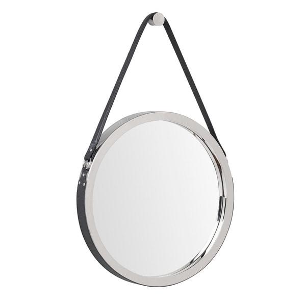Wellington Leather Frame Mirror- Black