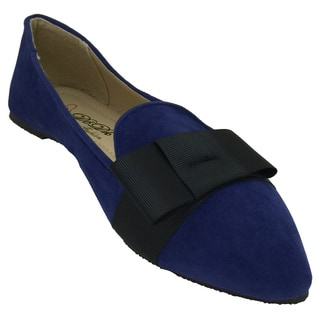 Nichole Simpson Women's Suede Flat Shoes with Bow