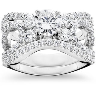14k White Gold 4ct TDW Diamond Engagement Matching Wedding 3-piece Ring Set (I-J,I2-I3)