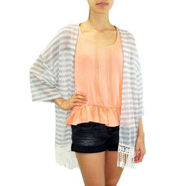 Women's Knit Kimono Long Stripe Cardigan